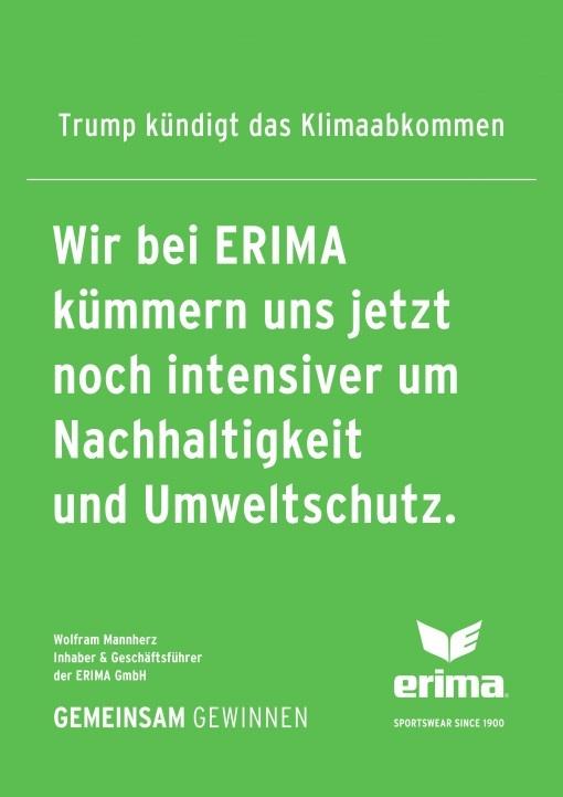 Projet de développement durable : ERIMA réagit à la politique climatique de Trump